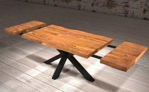 Tavolo da cucina allungabile in legno massello con gamba a ...