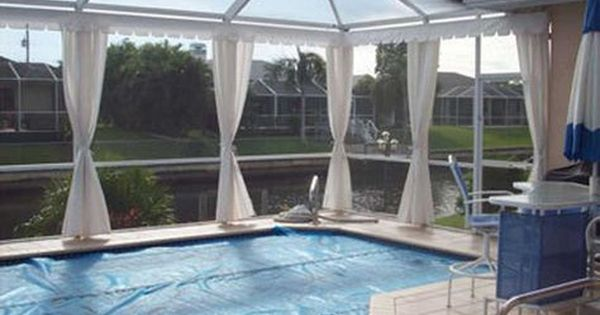 Do You Want A Unique Classy Look That Turns Your Pool Enclosure Deck Or Lanai Into A Private Oasis T Outdoor Curtains Pool Screen Enclosure Pool Enclosures