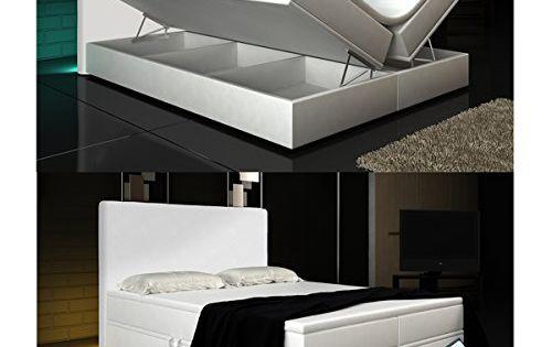 Boxspringbett 140x200 schwarz  Boxspringbett Weiß Lift 140x200 inkl. 2 Bettkasten Hotelbett Bett ...
