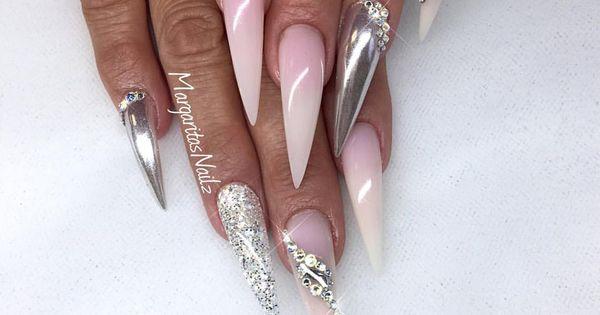 stiletto nails chrome and ombr nail design summer 2016 nail fashion nail ideas pinterest. Black Bedroom Furniture Sets. Home Design Ideas