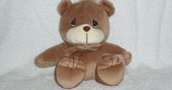 """Precious Moments Bear 6"""" Plush Beanie Tender Tails Brown"""