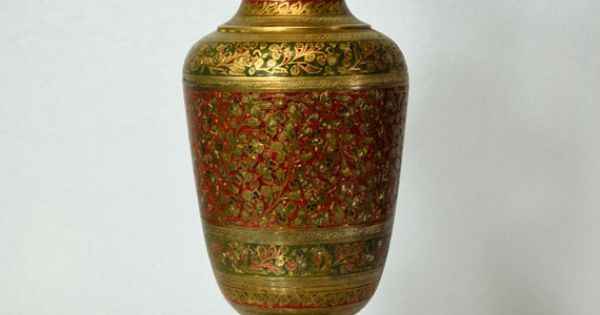 Vintage Brass Vase From India Etched Flowers Red And Green