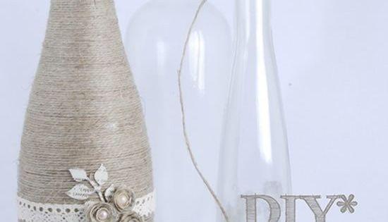 Faça você mesmo Garrafas de Vidro Decoradas com Linha e Barbante