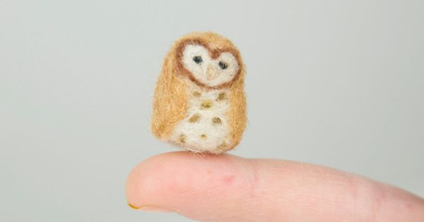 Pair of Miniature Needle Felted Pocket Barn Owls, One Natural and One