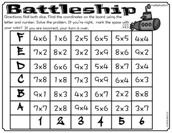 Math Fact Game Battleship With Images Math Fact Games Math