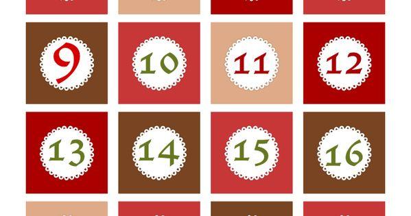Free Printable Christmas Advent Calendar Numbers And
