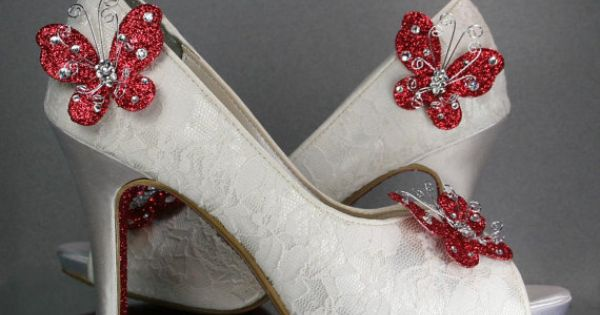 Ivory Peeptoe wedding shoes with Lace Overlay, Red Glitter ...