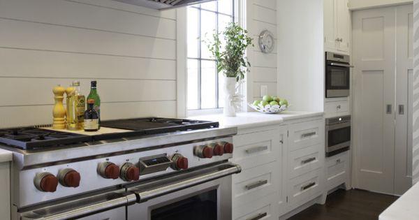 plywood planks as backsplash This kitchen is sheer