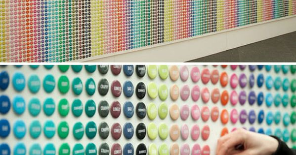 The button wall at top created by Blok Design for the Partners