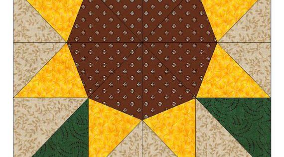 sunflower paper pieced quilt block pattern  pdf