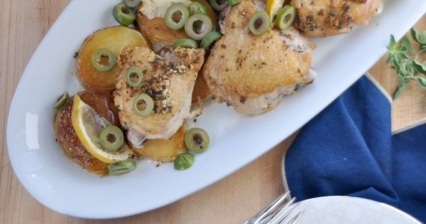 Chicken Thighs with Potato, Lemon & Castelvetrano Olives | Recipe ...