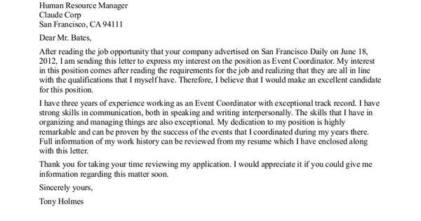 coordinator cover letter