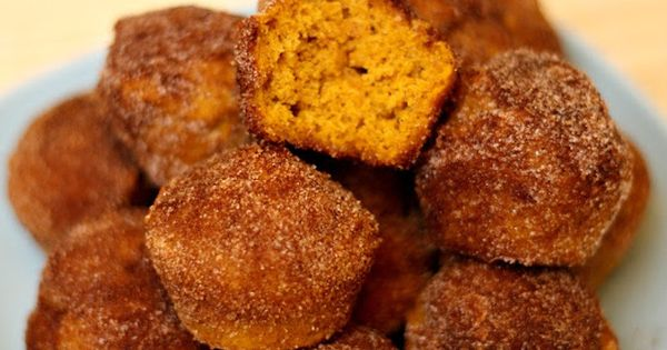 Baked Pumpkin Spice Donut Holes- these melt in your mouth! Made in