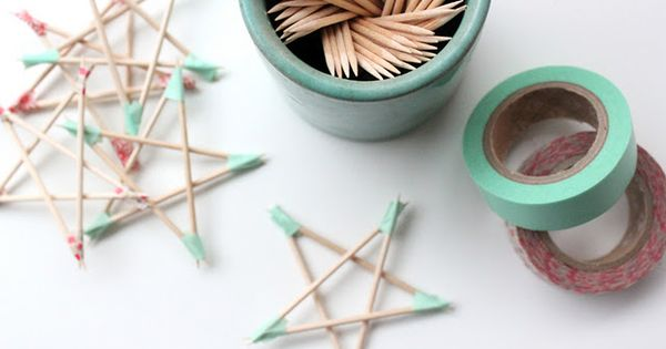 Holiday stars made out of toothpicks and masking tape, cool: thanks so