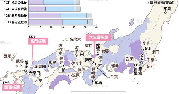 鎌倉末期の守護の配置図 歴史 日本史 世界の歴史