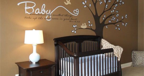Baby boy's room brown and cream colors