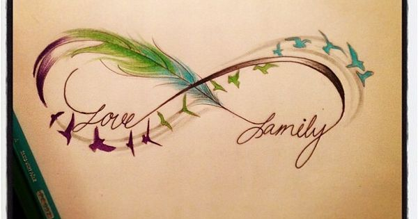 Infinity sign feathers birds love family an idea to for Family of birds tattoo