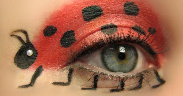 Ladybug eye makeup for Abbie Princess Lady bug