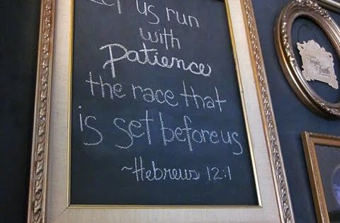bible verse. in frame. on chalkboard wall.