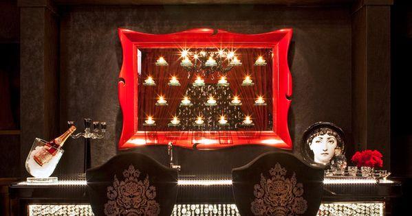 Damask stools bar black walls denise richards home tour for Denise richards home decor