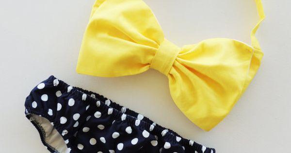 Sunshine Bow and polka dot swim suit bikini
