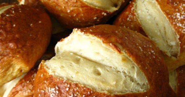 homemade pretzel rolls food bread