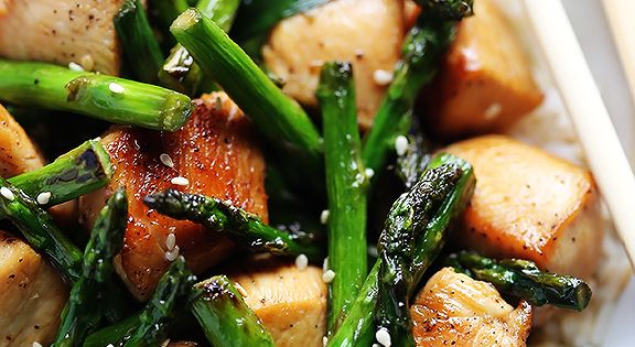 52 Weeknight Chicken Recipes: Lots of recipes, including Chicken Asparagus stir fry