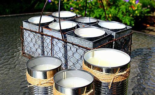 DIY citronella candles in upcycled soup cans. This would be cute in
