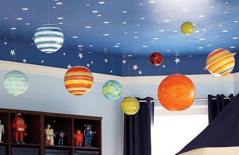 Jumbo Paper Lantern Planets Hanging From Blue Ceiling With