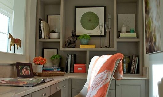 Home office: architectural detailing & built in desk make the most of