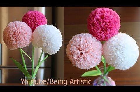 How To Make Round Tissue Paper Flower Diy Paper Craft Youtube Tissue Paper Flowers Easy Tissue Paper Flowers Diy Paper Flowers Diy Tissue Paper Flowers