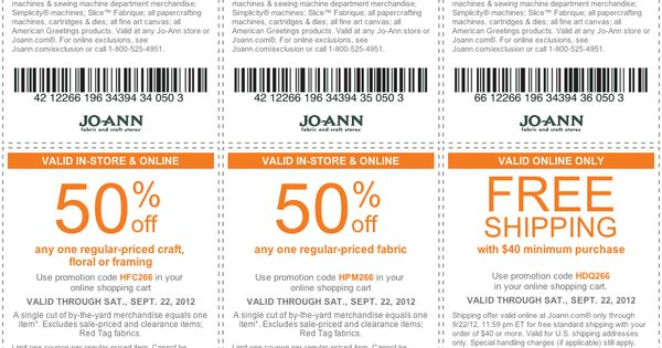 50% off a single item at Jo-Ann Fabrics, or online via checkout
