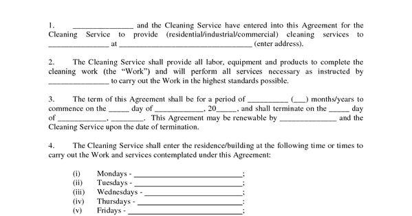 maid service  sample maid service agreement