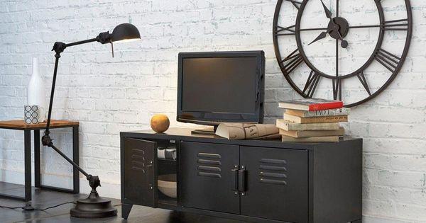 meuble tv acier style indus 3 portes hiba la redoute. Black Bedroom Furniture Sets. Home Design Ideas