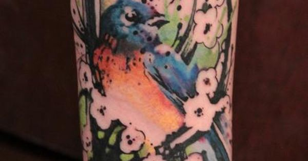 Bluebird Tattoo, Bird Tattoo, Abstract Tattoo, Leg Tattoo