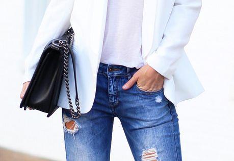 Whites + worn denim jacket jeans bag street style beautiful women fashion