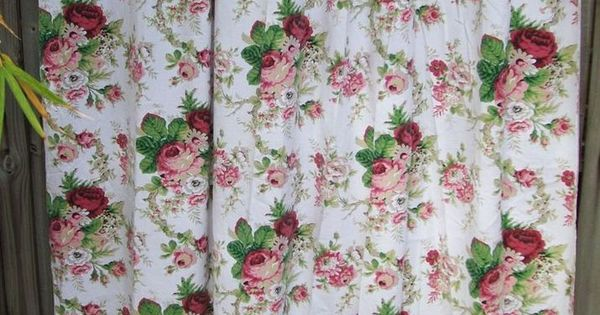 Waverly Spring Romance Pink Roses Fabric Shower Curtain W