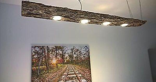 led decken holz lampe rustikal 120cm 4x 7w massivholz limitiertes unikat 7 st ck led holz. Black Bedroom Furniture Sets. Home Design Ideas