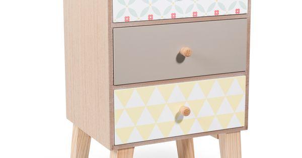 Meuble 3 tiroirs en bois l 24 cm seventies table de nuit for Meuble bureau gifi
