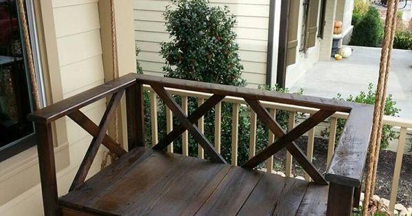 Custom Wood Dark Rustic Porch Swing Bed Furniture By