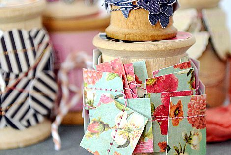 Stitch paper scraps together for gift wrapping
