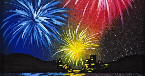 Fireworks over water acrylic painting for beginners step ...