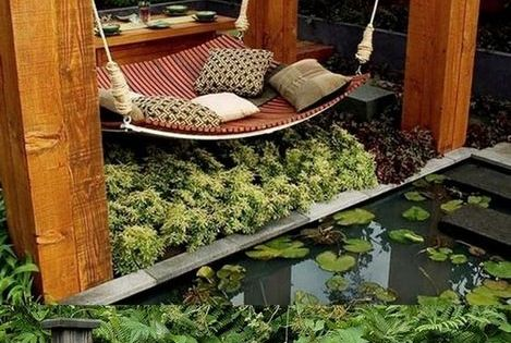Love this idea for a hammock, maybe in the far right corner