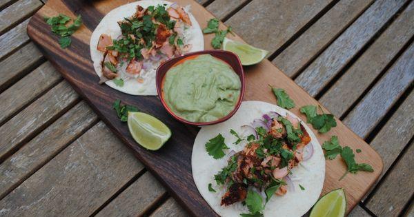 avocado cream sauce | FOOD! | Pinterest | Salmon Tacos, Avocado Cream ...