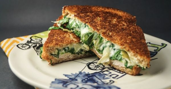 Spinach Artichoke Grilled Cheese | Slender Kitchen A better pic is at