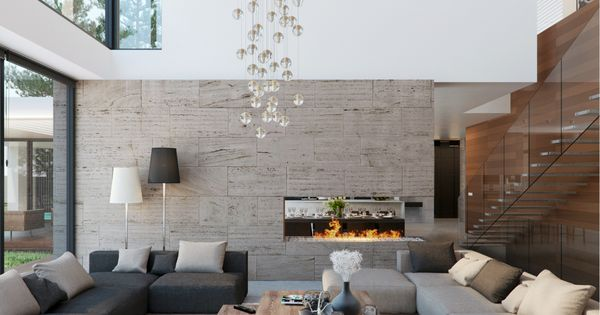Sal n doble altura con pared piedra decoraci n pinterest pared piedra dobles y piedra - Pared piedra salon ...