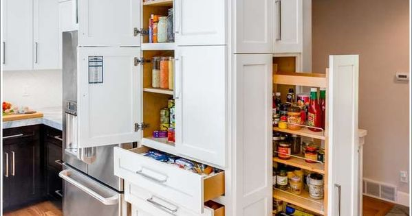 Install A Floor To Ceiling Pantry System With Pull-Out Racks, Cabinets And Drawers