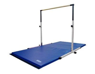 White Horizontal Bar And Blue Gymnastics Mat Combo Gymnastics Equipment Sport Gymnastics Gymnastics Equipment For Home