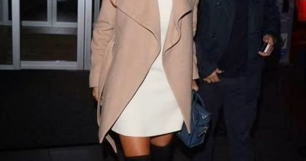 White dress, sand coat and sexy over the knee boots