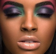 Seventies Disco Makeup Purple Green Google Search Dramatic